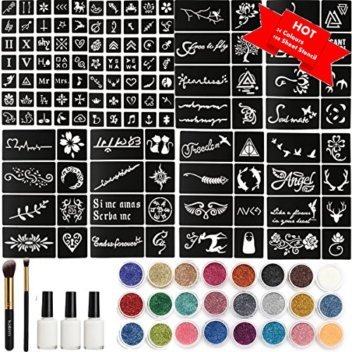 tattoo kit tempor re glitzer tattoo make up k rper. Black Bedroom Furniture Sets. Home Design Ideas
