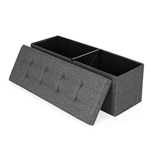 songmics lsf77k 110 cm sitzbank truhen sitztruhe mit 120 l stauraum leinen dunkelgrau beliebte. Black Bedroom Furniture Sets. Home Design Ideas