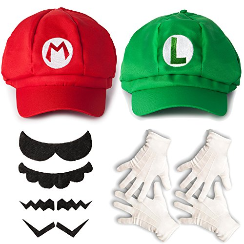 super mario und luigi kost m set m tze handschuhe bart f r erwachsene oder kinder beliebte. Black Bedroom Furniture Sets. Home Design Ideas