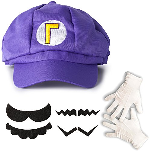 lila super mario waluigi kost m set m tze handschuhe bart f r erwachsene oder kinder. Black Bedroom Furniture Sets. Home Design Ideas