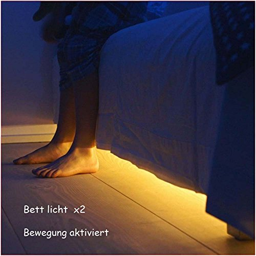 jindia dimmbar bewegung aktiviert bett licht flexible led streifenlicht auto ein aus. Black Bedroom Furniture Sets. Home Design Ideas