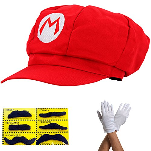 super mario m tze rot mario komplett set mit handschuhe und klebe b rte f r erwachsene karneval. Black Bedroom Furniture Sets. Home Design Ideas