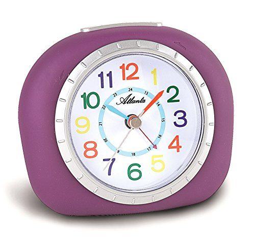 atlanta kinderwecker lernuhr lila violett m dchen analog ohne ticken licht snooze 1966 8. Black Bedroom Furniture Sets. Home Design Ideas
