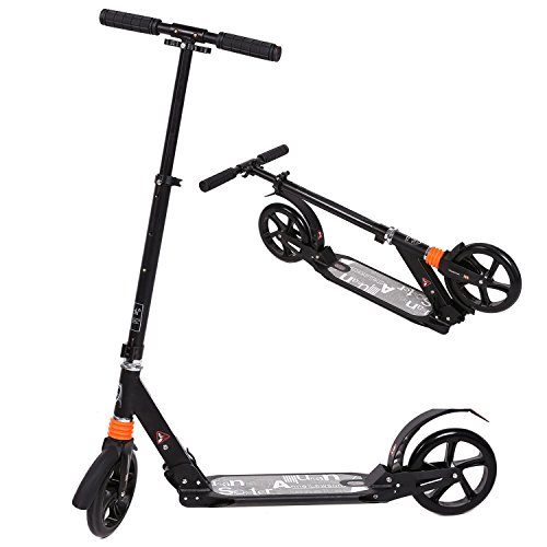 weskate cityroller tretroller f r erwachsene gro e r der 205mm klappbarer city roller scooter. Black Bedroom Furniture Sets. Home Design Ideas