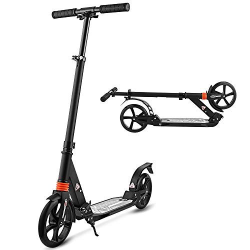 weskate roller scooter f r erwachsene big wheels klappbarer cityroller tret roller mit doppel. Black Bedroom Furniture Sets. Home Design Ideas