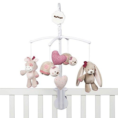 nina jade und lili nattou mobile mit musik f r babybett m dchen rosa beliebte spielzeuge. Black Bedroom Furniture Sets. Home Design Ideas