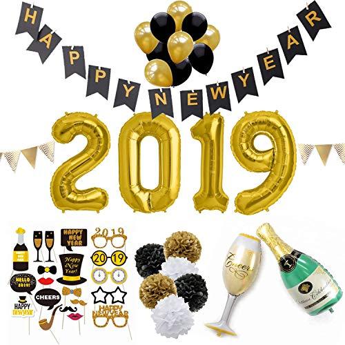 schwarz gold neujahr silvesterdeko sicurezzaprima silvester 2019 party deko set xxl 44. Black Bedroom Furniture Sets. Home Design Ideas